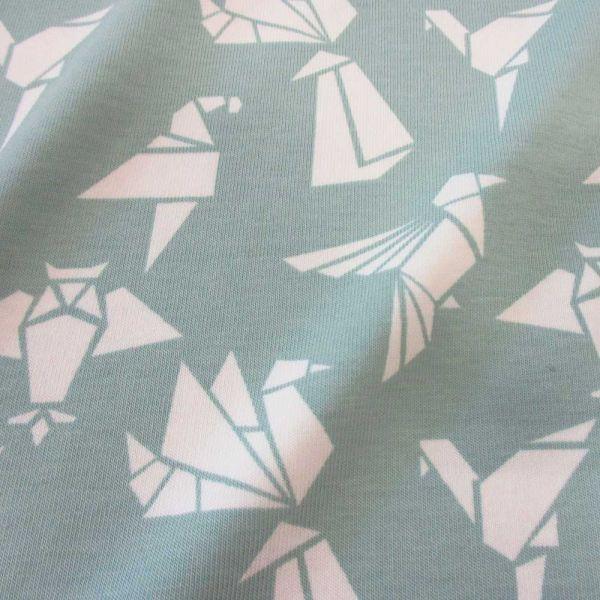 Stoff Meterware Jersey Baumwolle mint Origami Japan weiß Meterpreis Neu Schwan