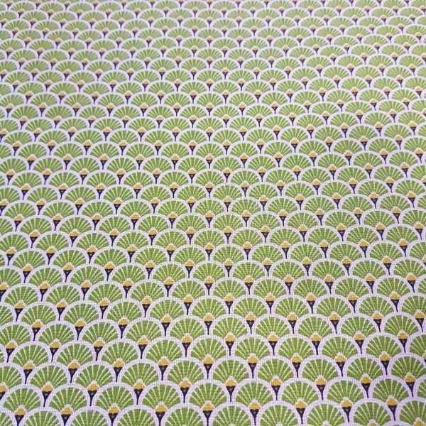 Stoff beschichtet Baumwolle Fächer rund grün messing 0,5