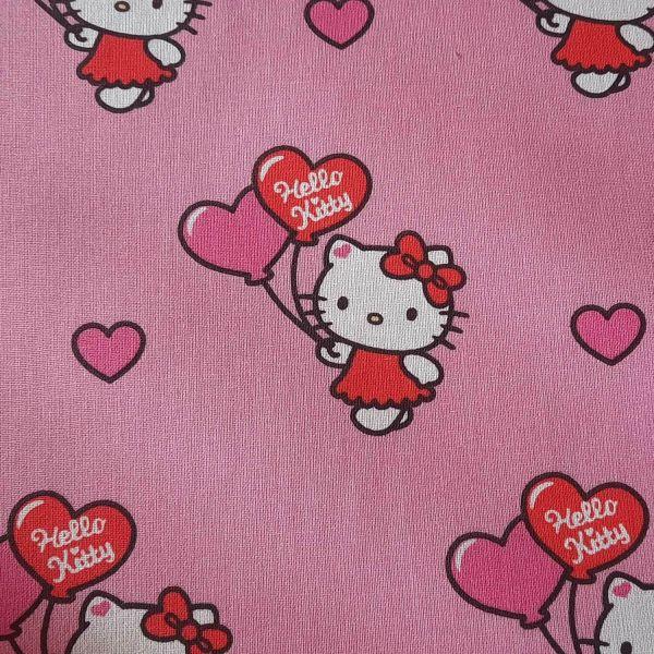 Stoff Baumwolle Hello Kitty rosa Luftballons 0,5