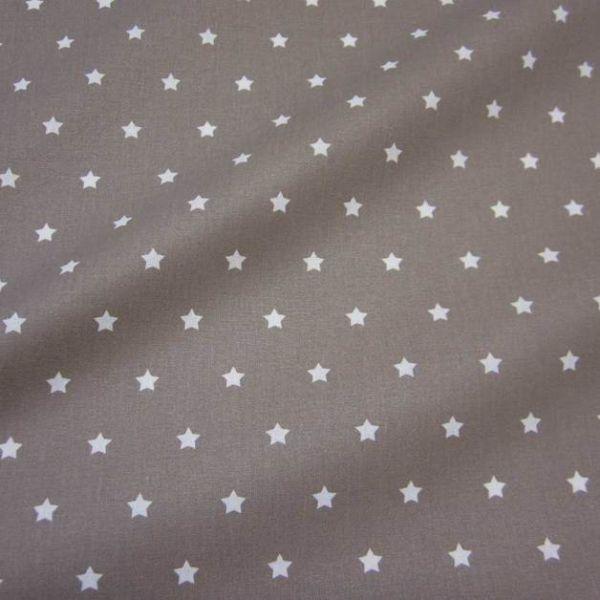 Stoff beschichtet Sterne taupe weiß Wachstuch Tischdecke 0,5