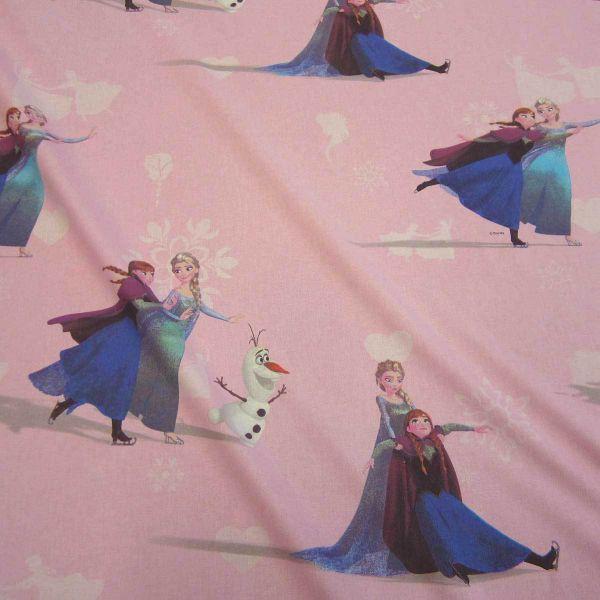 Stoff Meterware Baumwolle rosa Eiskönigin Frozen Elsa Anna Olaf Disney