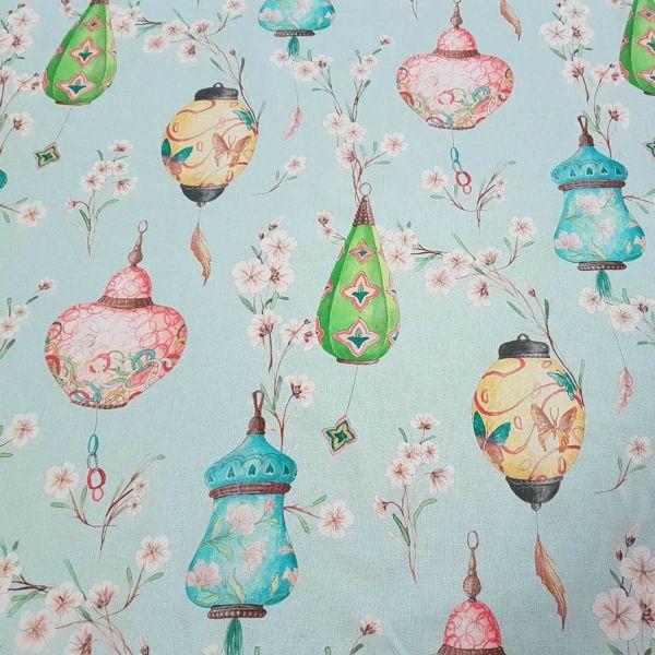 Stoff Meterware Baumwolle Lampion gross Kirschblüten Japan pastell
