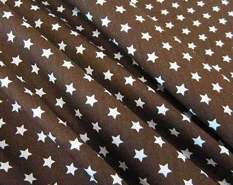 Stoff Baumwollstoff Stern Sterne braun weiß 9 mm