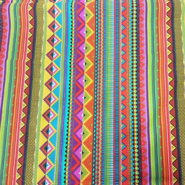 Kurzstück Stoff Baumwolle Meterware bunt Streifen Mexiko Mexico gestreift Dekostoff 0,450m x 1,60m