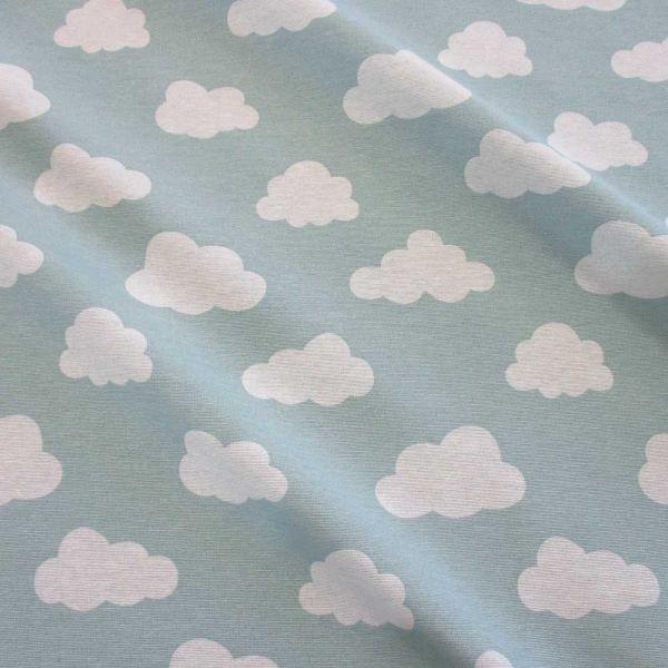 Kurzstück Stoff Baumwolle Mischgewebe Wolken mint weiss 0,65m x 1,40m