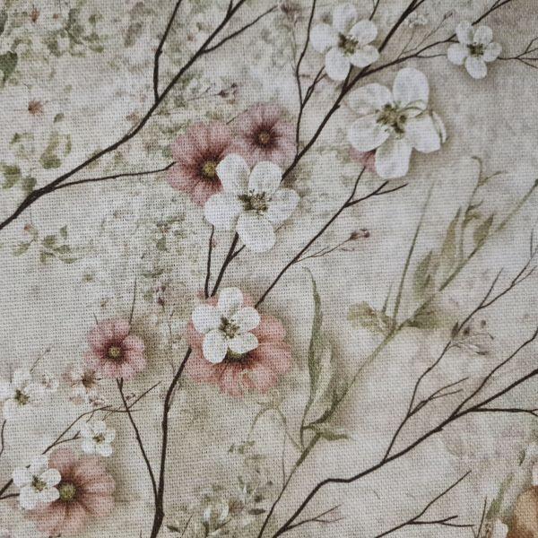 """Stoff Baumwolle """"Blumen Nostalgie"""" Kirschblüten Zweige Rosen Vintage Leinenoptik 0,5"""