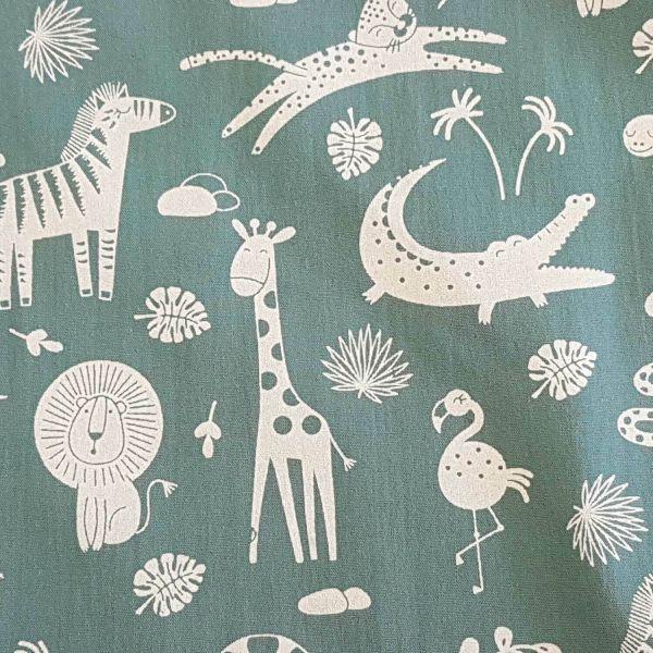 Stoff Meterware Baumwolle petrol Tiere Giraffe Nilpferd Popeline 0,5