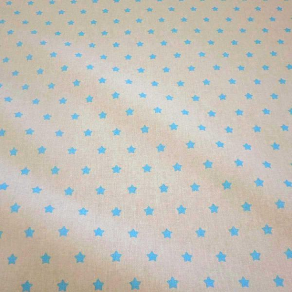 Stoff beschichtet Sterne beige türkis Wachstuch Tischdecke Garten Tasche Beutel Regenkleidung