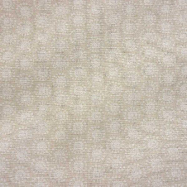 Stoff Baumwolle Moony Kreise retro beige weiß