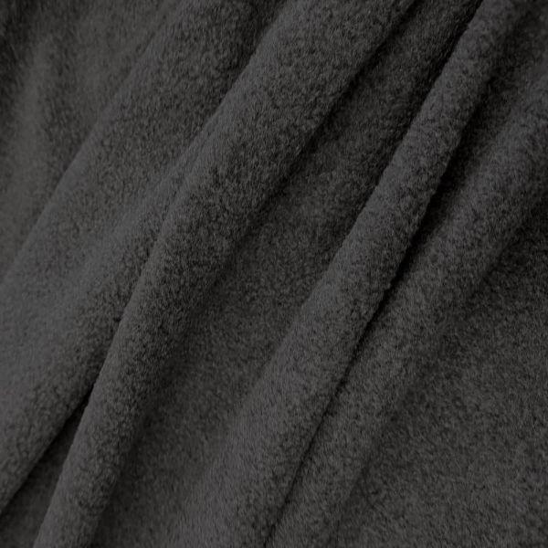 Stoff Meterware Polar Fleece dunkelgrau anthrazit weich warm kuschelig antipilling