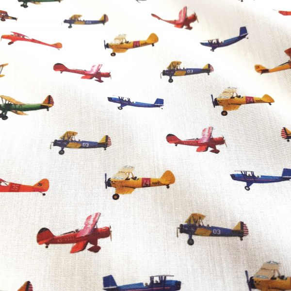 Stoff Meterware Baumwollstoff Popeline Flugzeuge Doppeldecker Digitaldruck fein