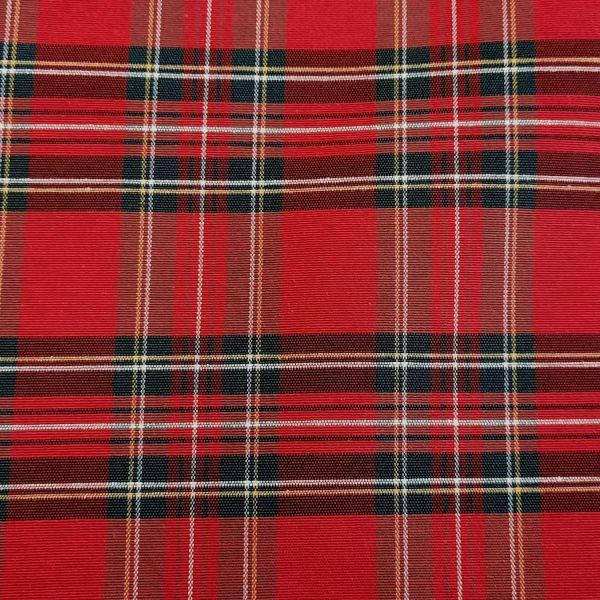 Stoff Meterware Baumwolle pflegeleicht Schottenkaro rot grün Dobby Check 0,5