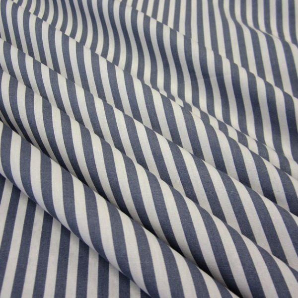 Stoff Baumwolle Popeline blaugrau weiß Streifen gestreift 5 mm