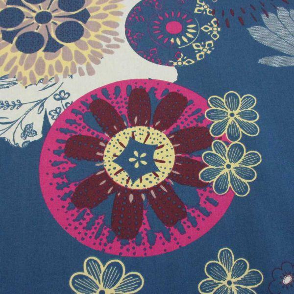 Stoff Baumwolle Ornament Mandala blau mint fuchsia grau gelb Feuerwerk
