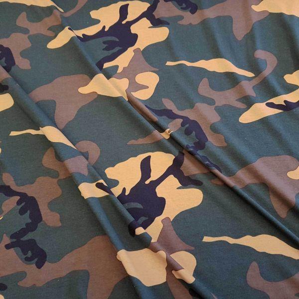 Stoff Jersey Baumwolle grün beige braun Camouflage Tarndruck Army