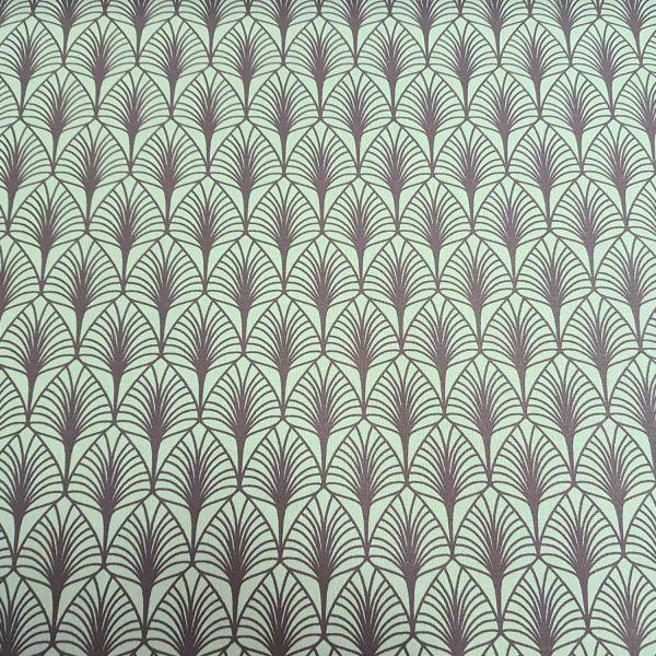 "Stoff Meterware Baumwolle beschichtet Blätter grün mint grau ""Gasby"" ArtDeco 0,5"