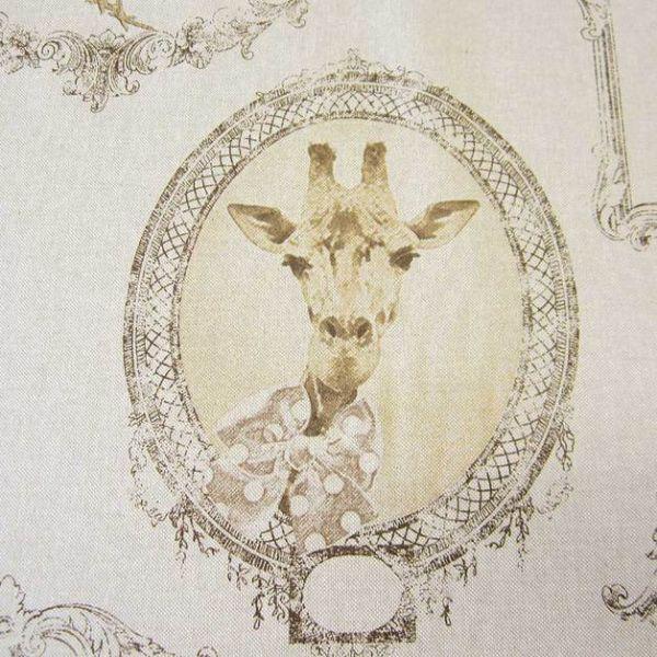 Stoff Baumwolle beige Bilderrahmen Giraffe Mops