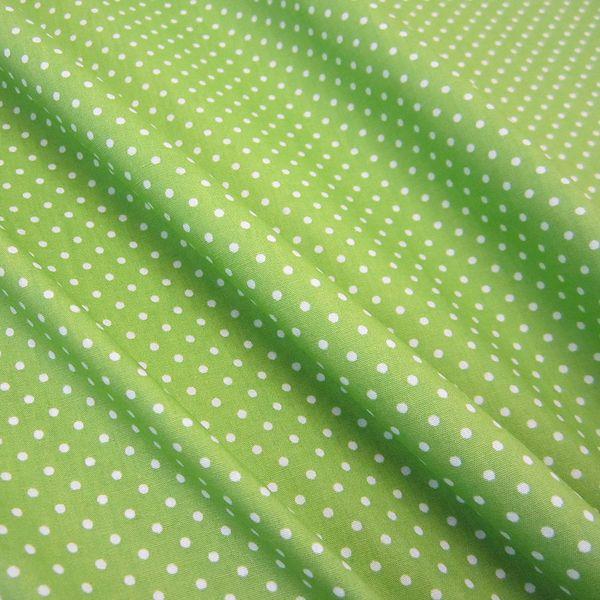 Stoff Baumwollstoff Punkte grün weiß S 2 mm