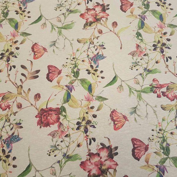 Stoff Meterware beschichtet beige Schmetterlinge Blumen Tischdecke