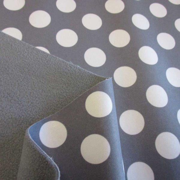 Stoff Meterware Softshell Punkte grau weiß