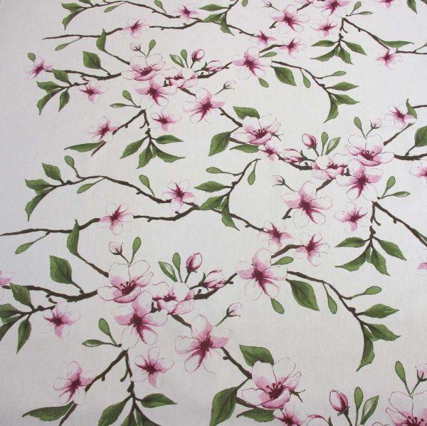 Stoff Baumwolle Meterware Kirschblüten weiss rosa