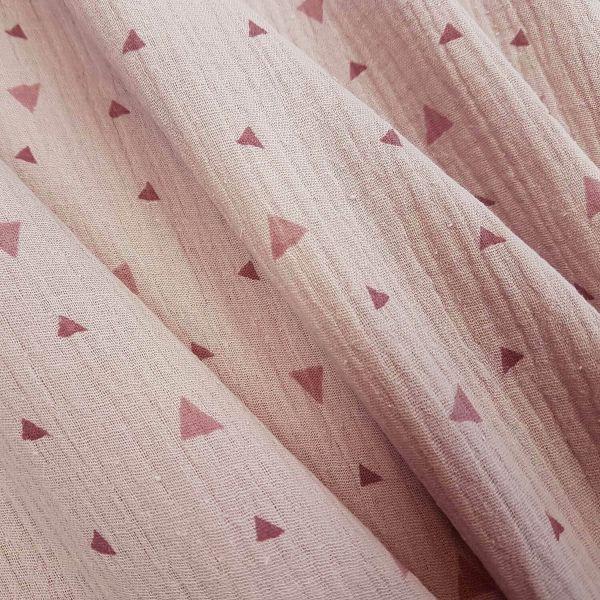 Stoff Meterware Baumwolle Musselin rosa altrosa Dreieck Gaze Windeltuch Crinkle