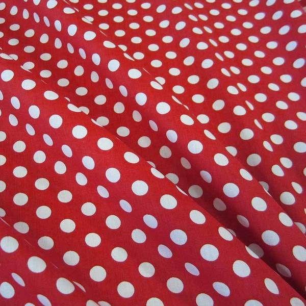 Stoff Baumwollstoff Punkte rot weiss M 8 mm