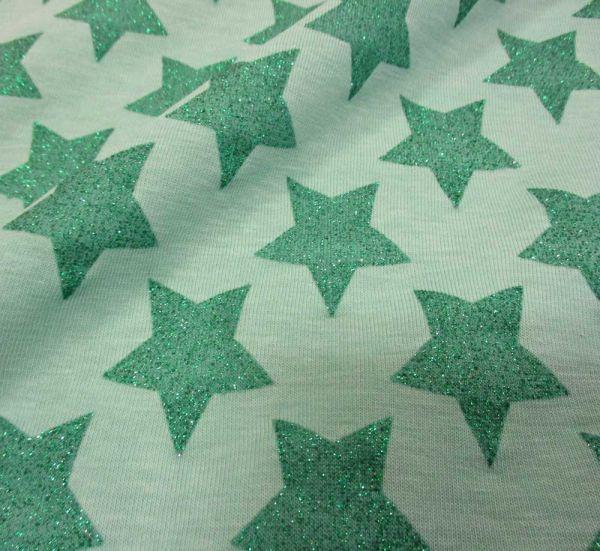 Stoff Meterware Baumwolle Jersey mint türkis grün Sterne Glitzer Glitter Glanz Trend