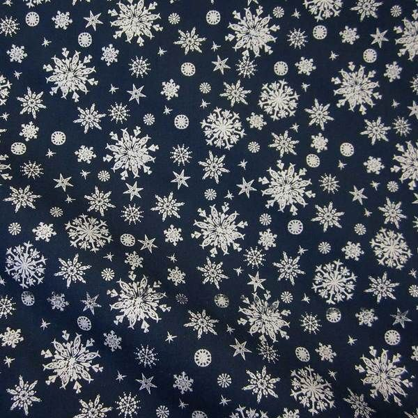 Stoff Baumwolle marine blau silber Eiskristall
