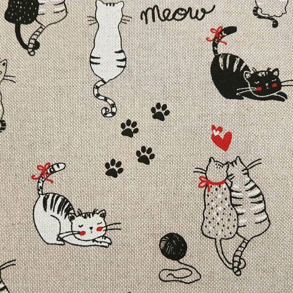 Stoff pflegeleicht natur Katzen schwarz weiß Dekostoff natur schwarz 0,5
