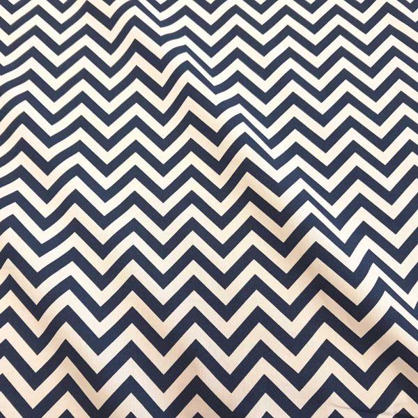 Stoff Meterware Baumwollstoff marine weiß Zickzack