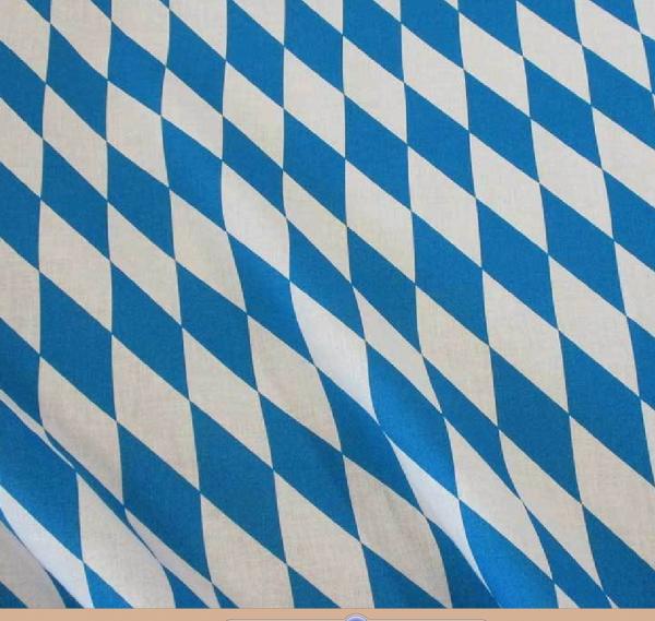 Stoff Baumwolle Bayernraute GROSS Raute blau weiß Oktoberfest
