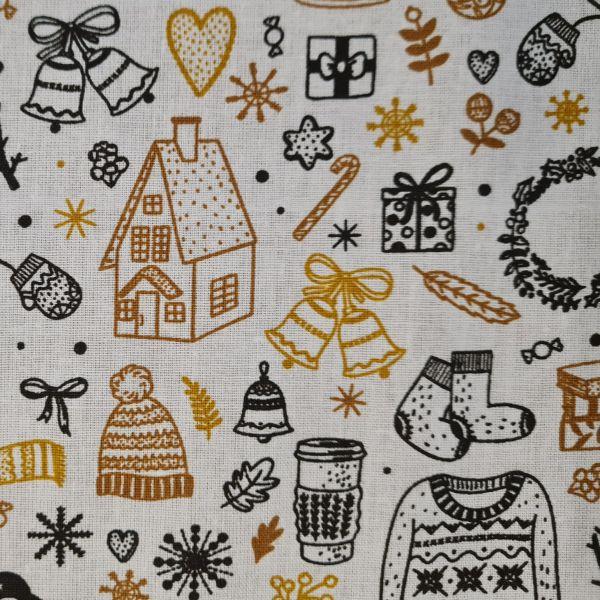"""Stoff Baumwolle """"Gingerbread"""" Weihnachtsmotive goldgelb schwarz 0,5 Weihnachtsstoff"""