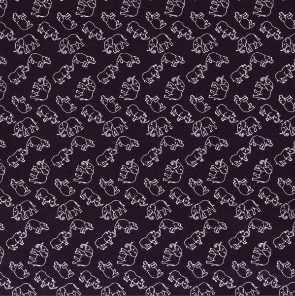 Stoff Baumwolle Popeline aubergine Elefanten Nilpferde Nashörner 0,5