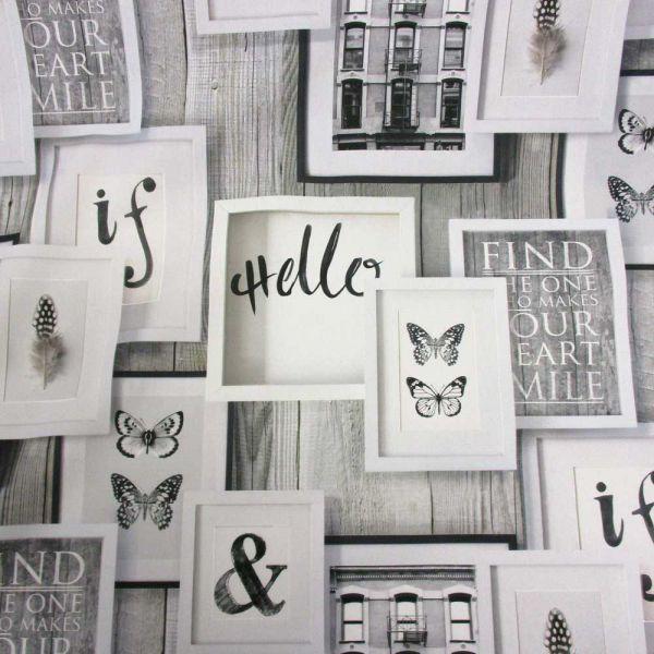 Stoff Baumwolle Digitaldruck Bilderrahmen Holz Schmetterling Feder schwarz weiß Trend 2016