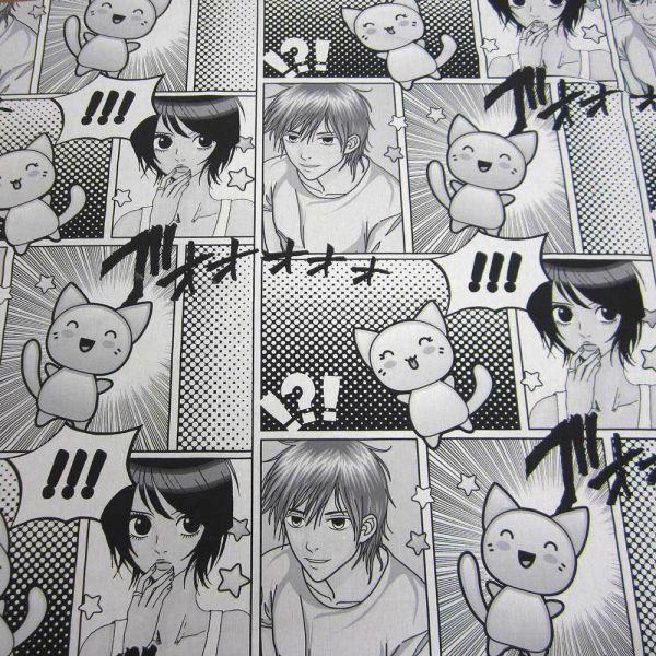 Stoff Meterware Baumwolle Manga Comic schwarz weiß Anime Zeichentrick 2,8m breit