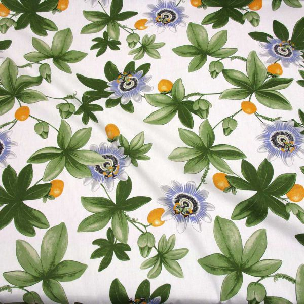 Stoff Baumwolle Meterware Passionsblume Maracuja Blüten