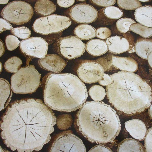 Stoff Baumwolle Holzscheibe Baumstamm Holzstapel