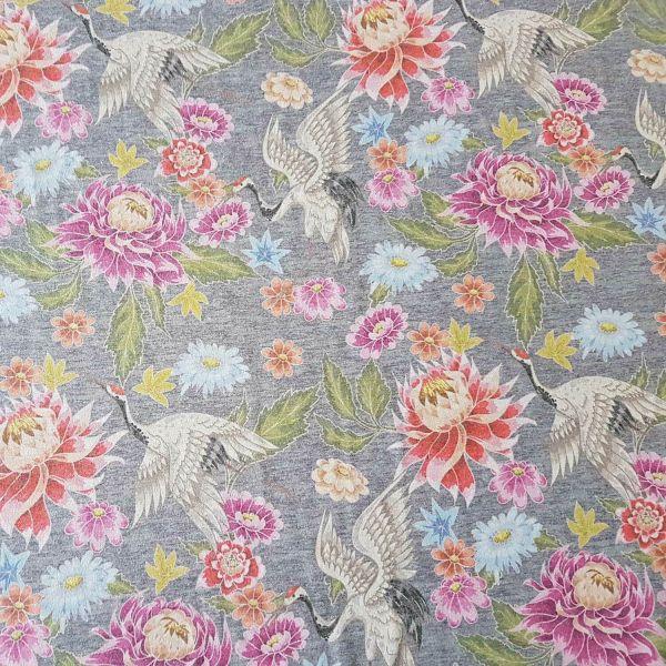 Stoff Meterware Jersey grau meliert Kranich bunt rosa pink Kleiderstoff Blumen 0,5