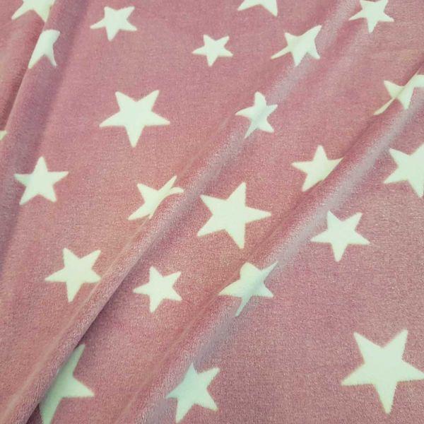Stoff Meterware Wellness Fleece rosa weiß Sterne Softplüsch kuschelweich warm