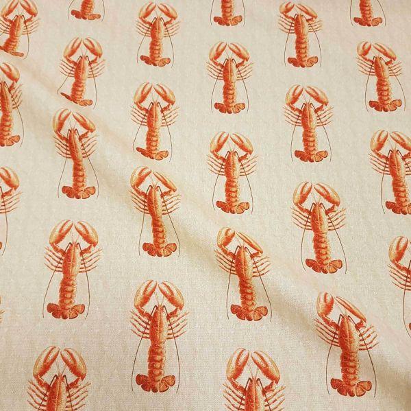Stoff Meterware Baumwolle Hummer Lobster natur