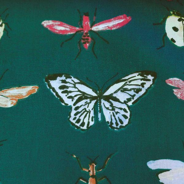 Stoff Meterware Baumwollstoff dunkelgrün petrol Schmetterlinge Libellen Käfer 0,5