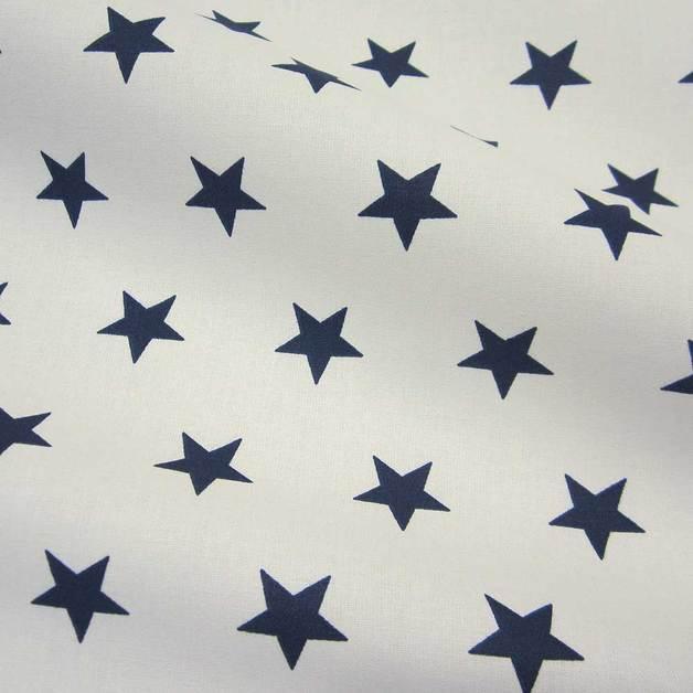 stoff baumwolle sterne stars wei dunkelblau marine blau. Black Bedroom Furniture Sets. Home Design Ideas
