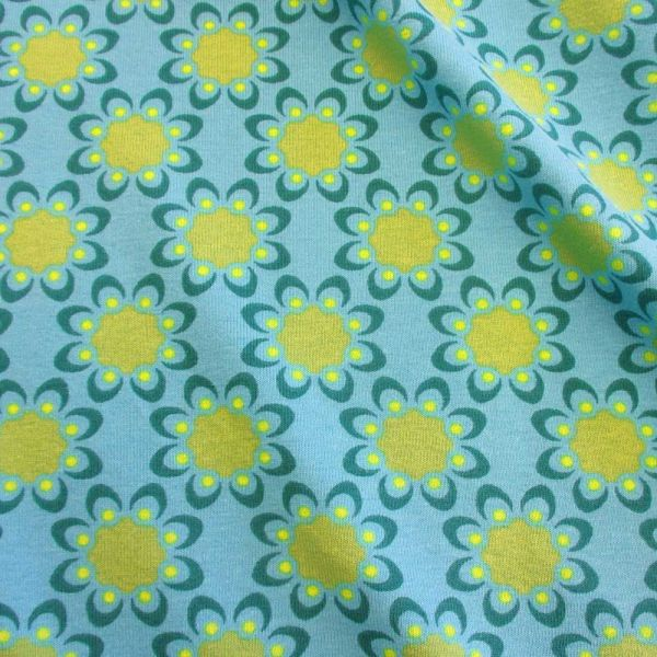 Stoff BW Jersey Retro Blumen aqua petrol kiwi
