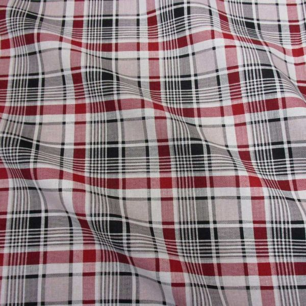 Stoff Baumwolle Karo Tartan beige schwarz rot