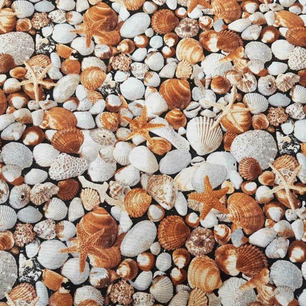 Stoff Meterware pflegeleicht Muscheln Seestern Strand weiß braun Fotodruck 0,5