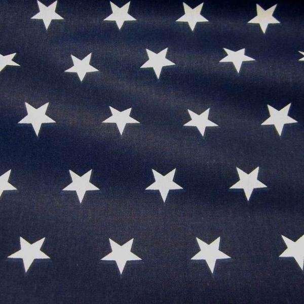 Stoff beschichtet Sterne marine weiß groß