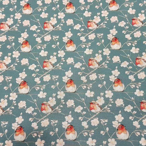 Stoff Meterware Baumwolle Rotkehlchen Vogel Kirschblüten blau grau rot Perkal 0,5