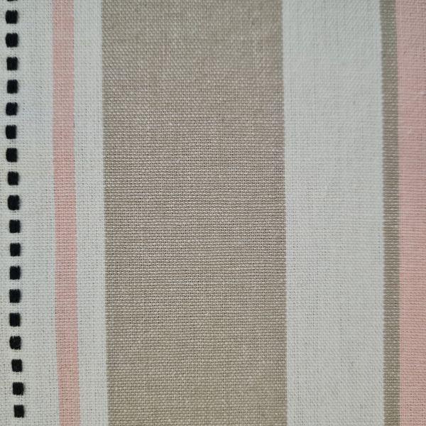 """Stoff Baumwolle """"Ferret"""" weiss rosa beige Streifen durchgewebt 0,5"""
