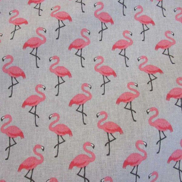 Stoff Baumwolle Flamingos hellgrau pink Trend 2017